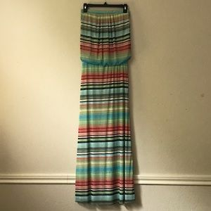 Cynthia Rowley Multi Striped Strapless maxi dress